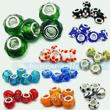 5PC Flower Murano Lampwork Glass Loose Spacer Beads Fit European Bracelets