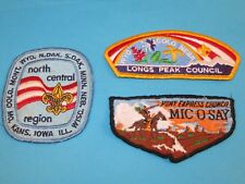 3 Vintage Boy Scout Council Patches N. Central Longs Peak Pony Express Mic O Say