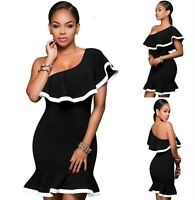 Sz 10 12 Black White ColorBlock One Shoulder Cocktail Party Sexy Club Dress Chic