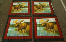 Lot of 4 Moose Blocks 100% Cotton Fabric in Pieces