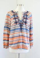 J Crew Orange Blue Embroidered Geometric Striped Top Blouse Size S Tunic Boho