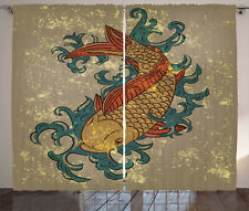 Curtains Koi Fish Art Window Drapes 2 Panel Set 108x108 Inches
