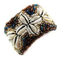 "1 1/2"" HANDMADE BEACH COWRY SHELL BROWN PEACOCK GLASS SEED BEADS bracelet"