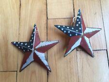 "SET of 2 ~ PATRIOTIC AMERICAN BARN STARS 3 3/8"" PRIMITIVE RUSTIC AMERICANA DECOR"