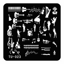 DIY Nails Stamping Plate Virtuoso Music Instruments Piano Nail Art Template TU23