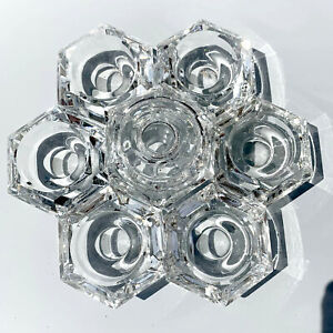 Enchante Tea Light Hexagon Cut Crystal Candle Holder, Clear, DOMESTIC SHIPPING