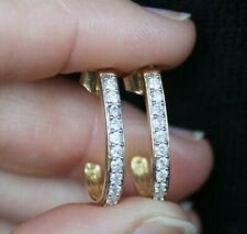 "New 10K 1/2ct Natural Diamond J Hoop Earrings 0.8"" Yellow Gold 0.5ct Real Round"