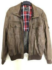 Mens Brown Lined Bomber Leather Jacket Size XL