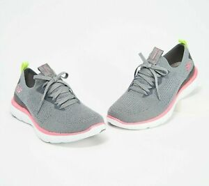 Skechers Flex Appeal 2.0 Stretch Knit Slip-on Sneakers - Turn Charcoal Hot Pink