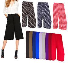 Women 3/4 Short Palazzo Trousers Wide Leg Baggy Short Trouser Pants Sizes 8-26