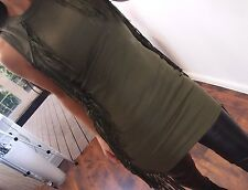 Long Shirt S 36 Fransen Kleid Blogger Tunika Ibiza Neu Musthave chic top Khaki