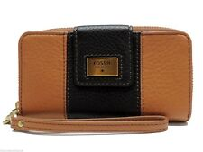 Fossil Quinn Zip Multi Wallet Wristlet Clutch Brown Black Leather New! NWT