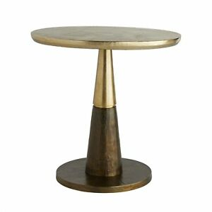 """24"""" Tall Accent Table Aluminum Round Two Tone Brown Antique Gold"""