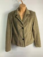 WOMENS PER UNA LIGHT BROWN CORDUROY BUTTON UP CASUAL BLAZER JACKET COAT SIZE 10