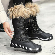 Winter Women's Flats Fur Lined Mid Calf Boots Warm Snow Boots Antiskid Outdoor