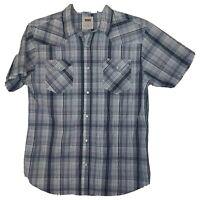 MEDIUM Levis Standard Fit BLUE Plaid Flanel Western Pearl Snaps Button MEN Shirt