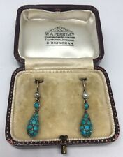 Victorian Antique Yellow Gold Ornate Turquoise Pear Cluster Drop Earrings Pretty