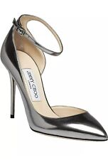 Jimmy Choo Lucy 100 Steel Mirror Leather Ankle Strap Pumps US 10 EU40.5 New $775