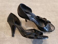 New Look size 6 (39) black faux leather peep toe open court shoes heels