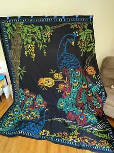 NWT New Urban Outfitters Huge Handmade Peacock Flower Art Tapestry Wall Hanging