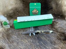 1982 Puma 620 Pony Knife With Stag Handles In Green/ Yellow Factory Box & Tag