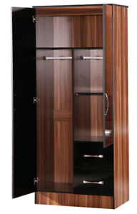 Black Gloss Walnut Double Combi Wardrobe 2 Door 2 Drawer Furniture Bedroom Unit