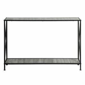 Artisasset Grey MDF Countertop Black Wrought Iron Base 2 Layers Forked Console T
