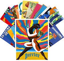 Postcards Pack [24 cards] Perrier Orangina Vintage Advert Posters CC1082