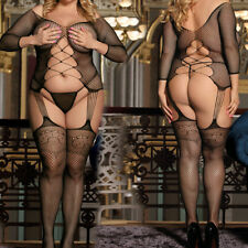 Plus Size Halter Fishnet - Bodystocking - Crotchless - Black Queen 1x 2x 3x