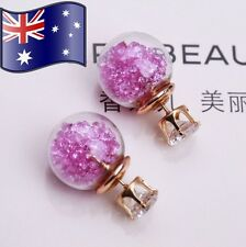 Purple Crystal Filled Double Sided Glass Ball CZ Gold Stud Earrings XMAS Gift
