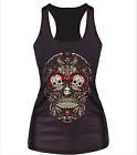 Gothic Women Printed Skull Vest Tank Top Sleeveless Bodycon Blouse T-Shirt Punk