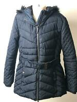 GIRLS YD NAVY HOODED WARM WINTER COAT JACKET KIDS AGE 9-10 YEARS