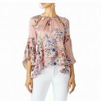 Marissa Webb Women's Blouse Pink Size Small S Emmeline Ruffle Floral $400- #554