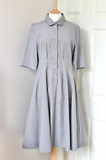 MARGARET HOWELL steal blue black check pleated shell button dress UK14 US10 IT46