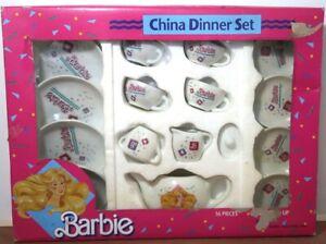 Barbie China Dinner Set  16 Pieces 1989 Teapot Cups Saucers Plates Damaged Box