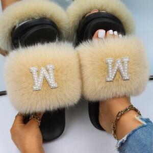 Fluffy Slippers Pearl Letter Decor Faux Fur Slides Designer Sandals Flat Custom