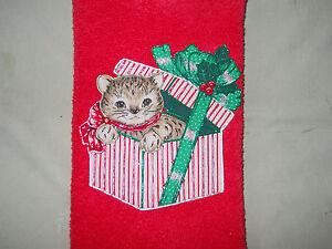 Christmas Hand Towel Bathroom or Kitchen Christmas Present Kitty Handmade NEW