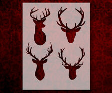 """Deer Buck Antlers Four 8.5"""" x 11"""" Stencil FAST FREE SHIPPING (611)"""