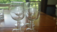 Vintage Etched Water WIne Glasses Goblets Wheat design 4 11 ounce glasses