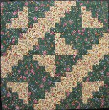 "16 PRE-CUT Log Cabin Quilt Top Blocks {Kit} (8.5"")-Patchwork Kit ""Green Floral"""