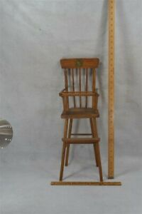 old doll high chair wooden lift tray 21 in tall WWII 1940 original