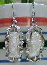 Natural 10X24MM White South Sea Pearl Silver Hook Drop/Dangle Earring AAA