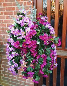 Artificial Trailing Hanging Basket Flower Rose Ivy Fern Rose Nast Burgundy Lilac
