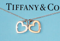 Tiffany & Co Sterling Silver 18K 18Ct Yellow Gold Double Heart Link Necklace