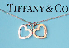 Tiffany & Co 18K 18Ct Yellow Gold & Sterling Silver Double Heart Link Necklace