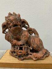Antique Chinese Soapstone Carving Foo Dog & Mystery Ball Figurine / Statue