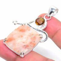 "Cinnabar Jasper Citrine Handmade Ethnic Style Jewelry Pendant 2.17"" VED8015"
