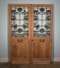 "*Pair of Antique French Art Nouveau 83"" Tall Solid Oak Doors with Iron Grilles"