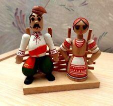 "VINTAGE Ukrainian Folk Art  Hand Painted Wooden ""Odarka & Karas"" Figures USSR"
