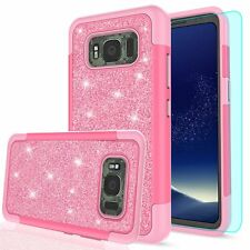 Samsung Galaxy S8 Active Pink Glitter Case Screen Protector Luxury Bling X Cover